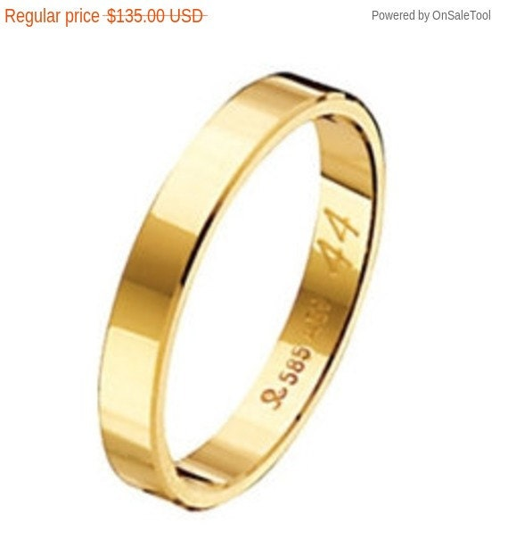 Wedding Band, Gold Wedding Band, Flat Gold Band, Wedding Band, Mens Wedding Band, 14 karats Band Ring, 3 mm Band Ring, Engraved Ring