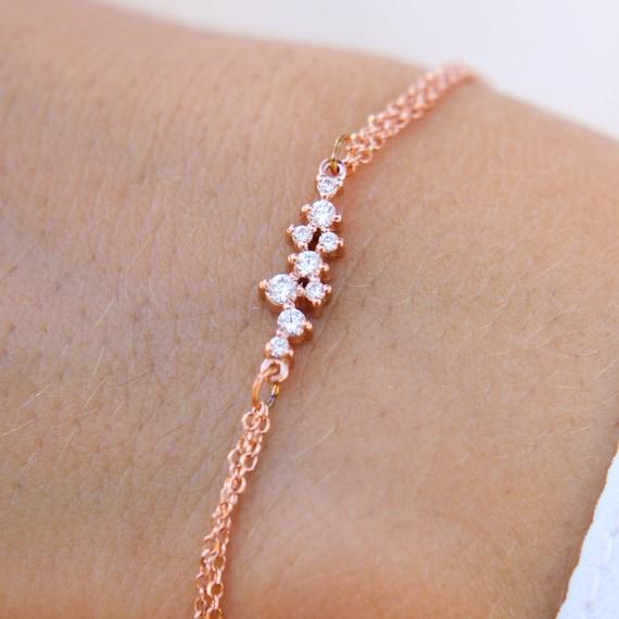 Gemstone Bracelet, Cluster Bracelet, Gold Cluster Bracelet, Cluster Charm, Cz Cluster Bracelet, Chain Bracelet, Double chain Bracelet