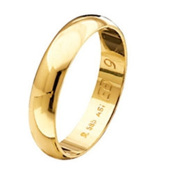 Wedding Band, Gold Wedding Ring, Wide Gold Band, Simple Band Ring, Mens Wedding Band, 9k Band Ring, 4,30 mm Band Ring