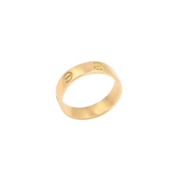 Gold Band Ring, Gold Wedding Band, Gold Screw Ring, Flat Gold Band, Mens Wedding Band, 14k Band Ring, 5mm Band Ring, Engraved Ring