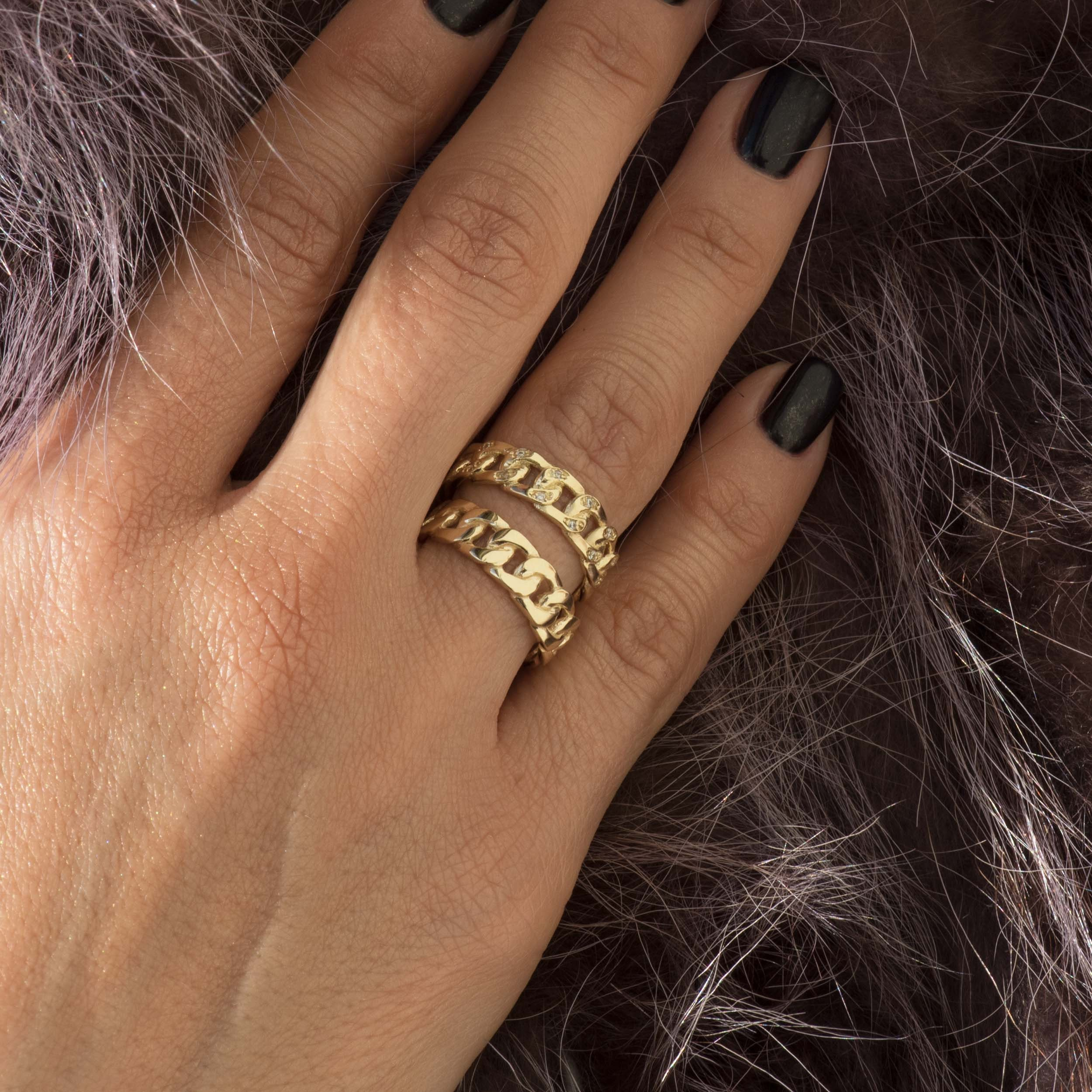 Diamond Ring* Solid 14kGold Ring Ring Chain Ring Gold Ring Chain Eternity Chain Ring Chunky Chain Ring Curb Chain Ring