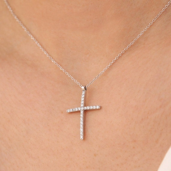 Diamond Cross Necklace, Dainty Diamond Cross, Baptism Necklace, Cross Pendant, Tiny Diamond Necklace, Communion Gift, Confirmation Gift