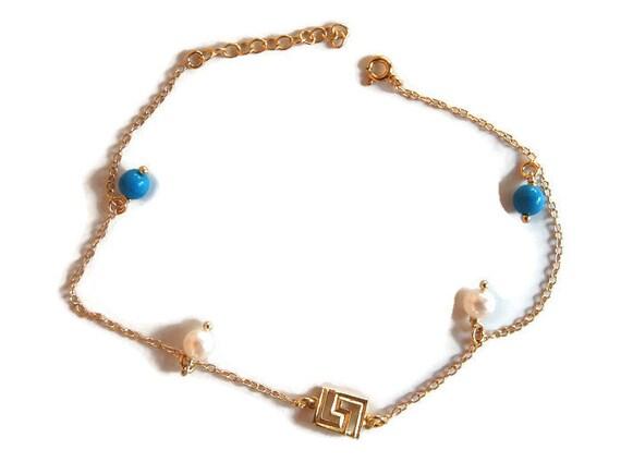 Sideways Meandros, Greek Symbol Anklet, Gold Meandros Anklet, Silver Anklet, Turquoise Stones, Pearl Bracelet, Foot Jewelry, Ankle Bracelet