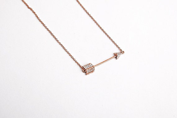 Silver Arrow, Arrow Necklace, Sideways Arrow, Micro Pave Arrow, Archery Jewelry, Hunger Games, Arrow Pendant, Cz Arrow, Dainty Necklace