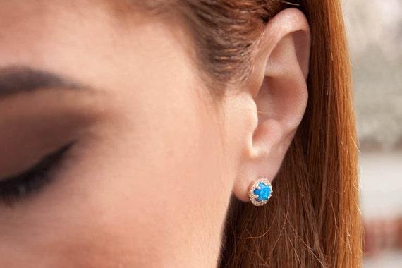 Opal Earrings, Opal Earrings Stud, Opal Earrings Gold, Blue Opal Earrings, Circle Earrings, Opal Halo Earrings, Post Earrings, Opal Studs