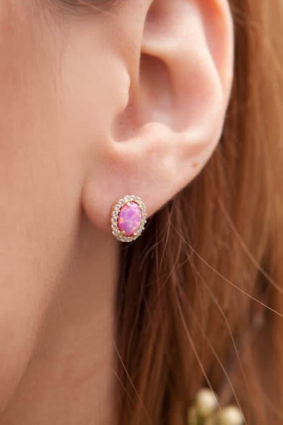Pink Opal Earrings, Opal Stud Earrings, Oval opal earrings, Solid Gold 14k , Birthstone Earrings, Australian Opal Earrings