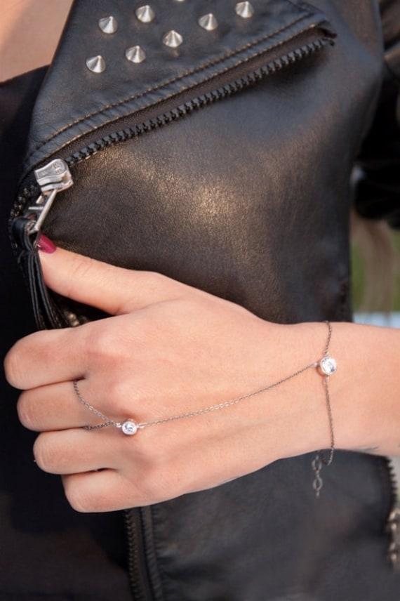 Hand Chain Bracelet, 2 Stones Ring Bracelet, Silver Slave Bracelet,  Finger to wrist, Harem bracelet, Body Jewelry
