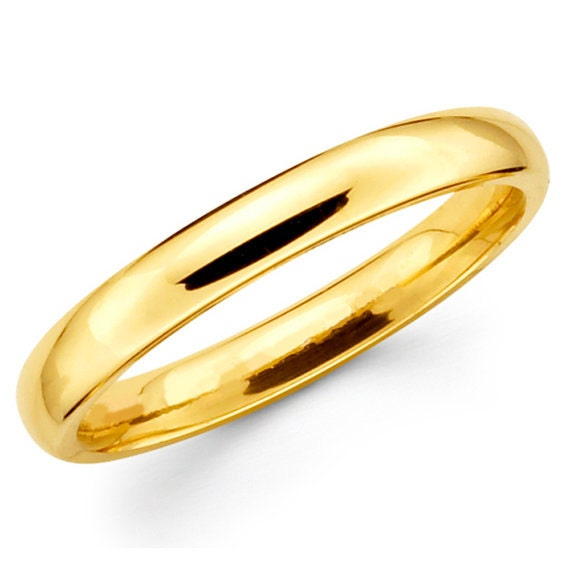 Wedding Band, Gold Wedding Ring, Classic Gold Band, Simple Band Ring, Mens Wedding Band, 3 mm Band Ring, Solid Gold Band, 9k Band Ring