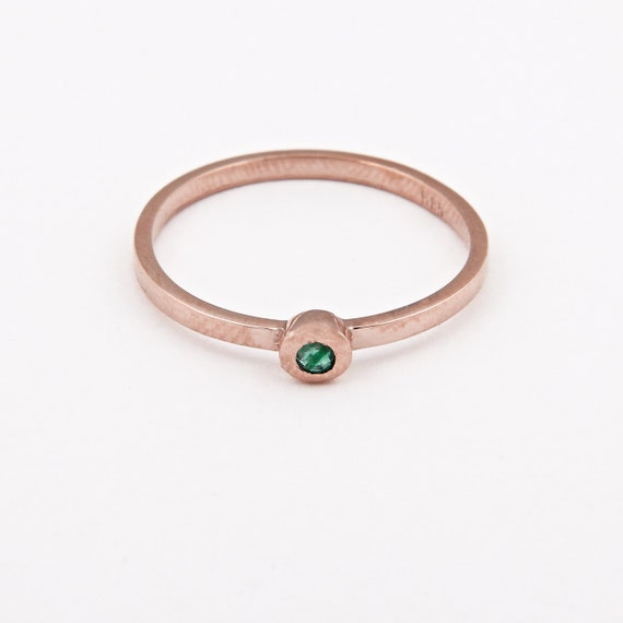 Gold Emerald Ring, Gold Stacking Ring, Genuine Emerald Ring, Gold Bezel Ring, Solid Gold 14 karats, Emerald Ring