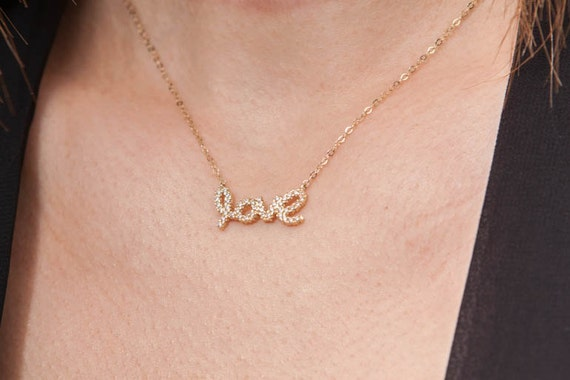 Love Necklace, Gold Love Necklace, Letter Love Necklace, Love Script Necklace, Rhinestone Love, Cursive Writing Love Necklace, Love Jewelry