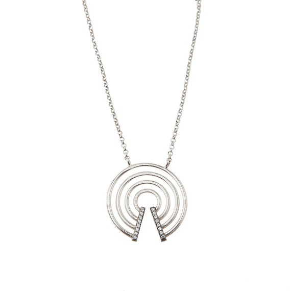 Concentric Circles, Circles Necklace, Rhinestone Circle Charm, Concentric Circles Necklace, Geometric Jewelry