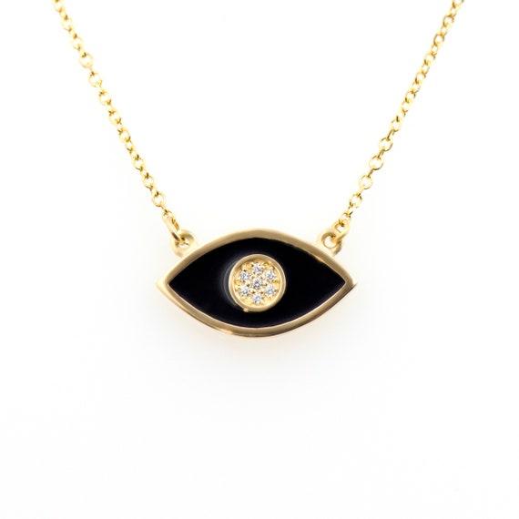 Gold Enamel Eye Necklace, Evil Eye Necklace, Black Enamel Eye Charm, Protection Necklace, Enamel Necklace, Gold Eye Charm,Good Luck Necklace