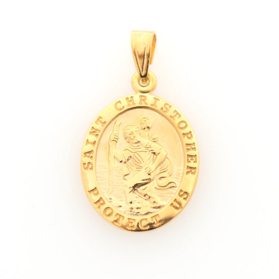 14K Solid Yellow Gold Saint Christopher Protect US Medal Pendant Charm Oval Necklace Charm Engraved, Personalized, Christian Necklace