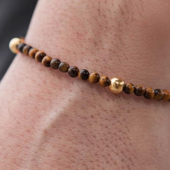 Tiger eye Bracelet, Gold Balls Bracelet, Mens Bracelet, Beaded Bracelet, Mens Jewelry, Men Healing Bracelet, Macrame Bracelet