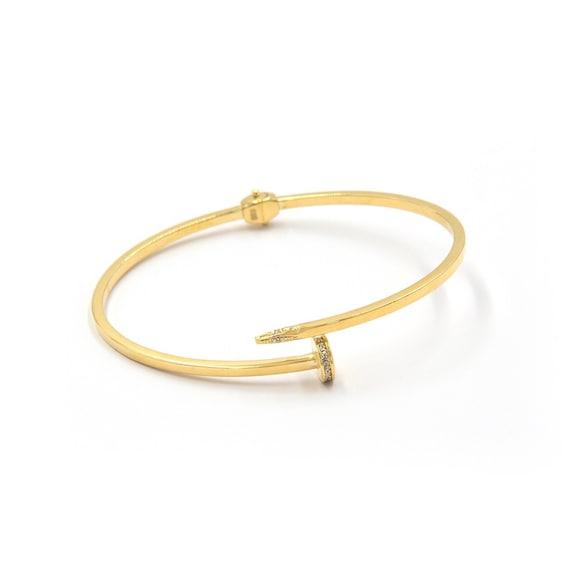 Nail Bracelet, Gold Bangle Bracelet, Cuff Bracelet, Open Bracelet, Nail Bent Bracelet, Gold Cuff Bangle, Open Bangle, 2 Mm Gold Bangle by Etsy