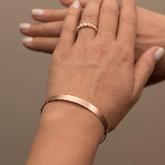 Plain Solid Gold Bracelet, Gold Bangle Bracelet,Solid Gold Bangle, Open Gold Cuff, 6 mm Wide Bracelet , Love Bracelet, Engraved Bracelet