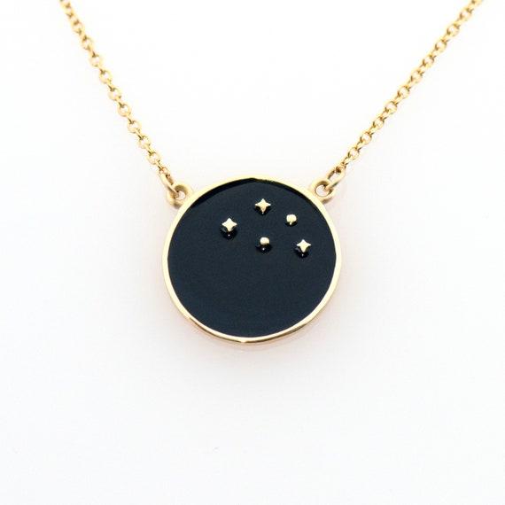 Gold Enamel Disc Necklace, Solid Gold Disc Necklace, Black Enamel Fall Charm, Enamel Stars Necklace, Gold Coin Charm, 14k Gold Enamel Fall