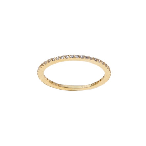 VERY BIG OFFER, Gold Eternity Band, Eternity Ring, Cz Band Ring, Thin Stacking Ring, Wedding Band Ring, Engagement Ring, Gemstone Band