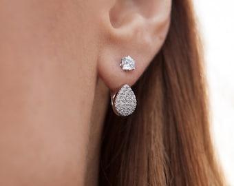 Ear Jacket Earrings, Gold Ear Jacket, Double Sided Earring, Gold Earrings, Two Way Earrings, Front Back Earrings, Ear Jacket, Cz Earrings