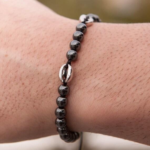 Hematite Bracelet, Men Bead Bracelet, Button Bracelet, Hematite 6 mm Bracelet, Men Healing Bracelet, Zen Bracelet