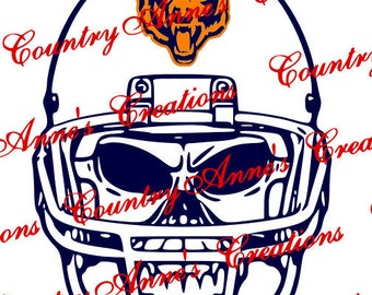 """SVG PNG DXF Cut file for Silhouette, Cricut, Pazzles, ScanNCut  -""""Skull with Helmet Bears""""  svg- can do any team and all file formats"""