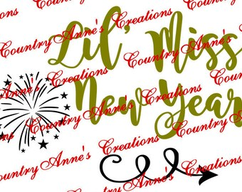 """Fcm, SVG PNG DXF Eps Ai Wpc Cut file for Silhouette, Cricut, Pazzles, ScanNCut """"Lil' Miss new year"""" svg"""