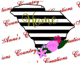"""SVG PNG DXF Eps Ai Wpc Cut file for Silhouette, Cricut, Pazzles, ScanNCut """"South Carolina Floral Striped State Home"""" svg -  can do any state"""