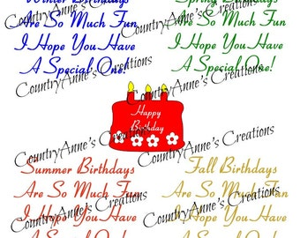 """SVG PNG DXF Eps Ai Wpc Cut file for Silhouette, Cricut, Pazzles - """"All Seasons Birthday Card Toppers"""" svg"""