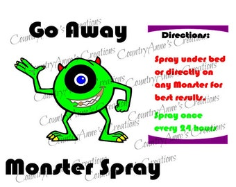 SVG PNG DXF Eps Ai Wpc Cut file for Silhouette, Cricut, Pazzles - Go Away Monster Spray with Directions svg