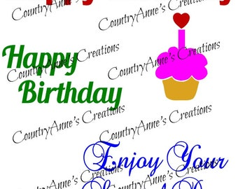 """SVG PNG DXF Eps Ai Wpc Cut file for Silhouette, Cricut, Pazzles - """"Birthday Card Toppers"""" svg"""