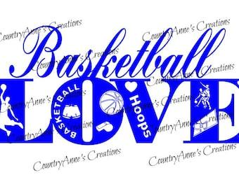 "SVG PNG DXF Eps Ai Wpc Cut file for Silhouette, Cricut, Pazzles, ScanNCut  -""Basketball Love""  svg"