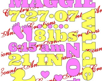 SVG PNG DXF Eps Ai Wpc Cut file for Silhouette, Cricut, Pazzles  - Baby Girl Birth Announcement -  svg- let me make yours :)
