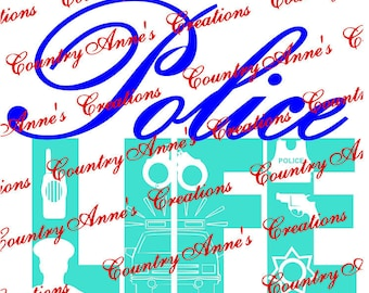 """SVG PNG DXF Eps Ai Wpc Cut file for Silhouette, Cricut, Pazzles, ScanNCut  -""""Police Life 7 pointed star""""  svg"""