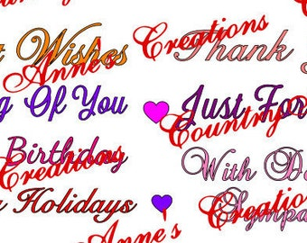 """SVG PNG DXF Eps Ai Wpc Cut file for Silhouette, Cricut, Pazzles - Greetings, Sentiments """" Card Toppers"""" cards scrapbooking - svg"""