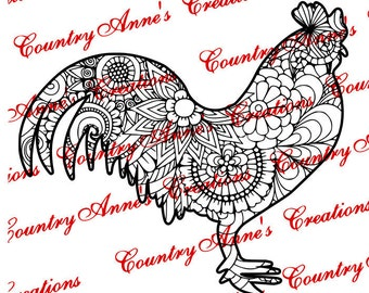 "SVG PNG DXF Eps Ai Wpc Cut file for Silhouette, Cricut, Pazzles - ""Rooster Zentangle"" svg"