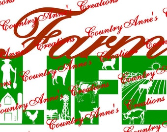 "SVG PNG DXF Eps Ai Wpc Cut file for Silhouette, Cricut, Pazzles, ScanNCut  -""Farm Life""  svg"