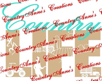 "SVG PNG DXF Eps Ai Wpc Cut file for Silhouette, Cricut, Pazzles, ScanNCut  -""Country Life""  svg"