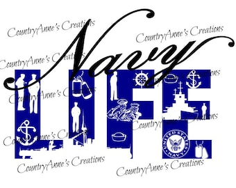 "SVG PNG DXF Eps Ai Wpc Cut file for Silhouette, Cricut, Pazzles, ScanNCut  -""Navy Life""  svg"