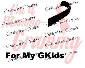 "SVG PNG DXF Eps Ai Wpc Cut file for Silhouette, Cricut, Pazzles - Awareness ""I'm a mammo grammy"" svg"