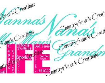 """SVG PNG DXF Eps Ai Wpc Cut file for Silhouette, Cricut, Pazzles, ScanNCut  -""""Nana, grandma, and more  Life""""  svg"""