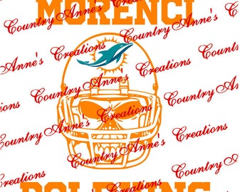 """SVG PNG DXF Cut file for Silhouette, Cricut, Pazzles, ScanNCut  -""""Skull with Helmet Morenci Dolphins""""  svg- custom order"""