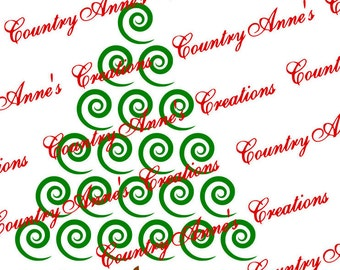 "SVG PNG DXF Eps Ai Wpc Cut file for Silhouette, Cricut, Pazzles, ScanNCut - ""Swirly Christmas""  tree svg"