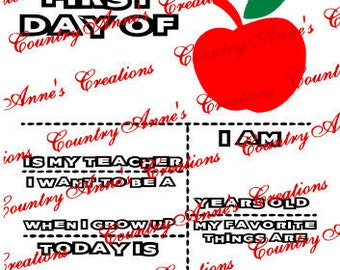 "SVG PNG DXF Eps Ai Wpc Cut file for Silhouette, Cricut, Pazzles - ""first day of school""-  svg"