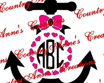 "SVG PNG DXF Eps Ai Wpc Cut file for Silhouette, Cricut, Pazzles, ScanNCut  -""- Monogram Anchor""  svg"