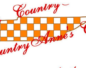 "SVG PNG DXF Eps Ai Wpc Cut file for Silhouette, Cricut, Pazzles, ScanNCut  ""Checkered State Tn"" svg -  can do any state"