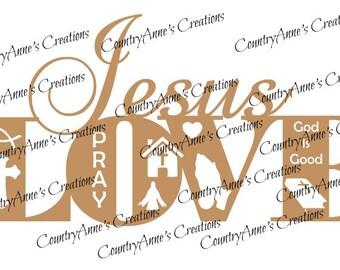 """SVG PNG DXF Eps Ai Wpc Cut file for Silhouette, Cricut, Pazzles, ScanNCut  -""""Jesus Love""""  svg"""