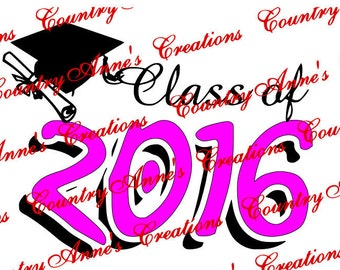 """SVG PNG DXF Eps Ai Wpc Cut file for Silhouette, Cricut, Pazzles  -""""Class of 2016 2"""" svg"""