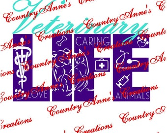 "SVG PNG DXF Eps Ai Wpc Cut file for Silhouette, Cricut, Pazzles, ScanNCut  -""Veterinary Life""  svg"