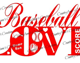 "SVG PNG DXF Eps Ai Wpc Cut file for Silhouette, Cricut, Pazzles, ScanNCut  -""Baseball Love""  svg"