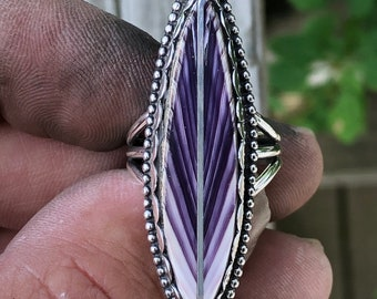 Wampum Feather with Silver Quill ring.